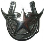 HORSESHOE, WINGS & STAR BELT BUCKLE + display stand